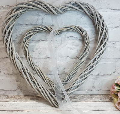 Rustic Grey Willow Wicker Hanging Heart Wreath, Wedding, Easter, Christmas, Home • 10.90£