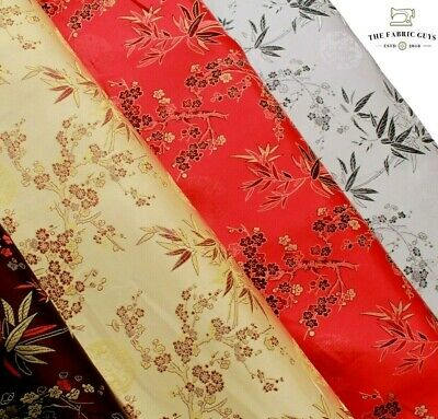 £6.99 • Buy Chinese Brocade Fabric Cherry Blossom Tropical Gold Embroidered Silk Satin 45