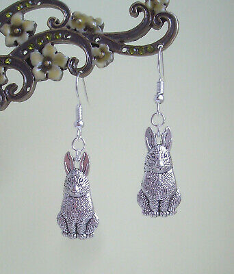 £4.15 • Buy Cute Hare Rabbit Charm Silver Plated Drop Earrings - Celtic Pagan Easter