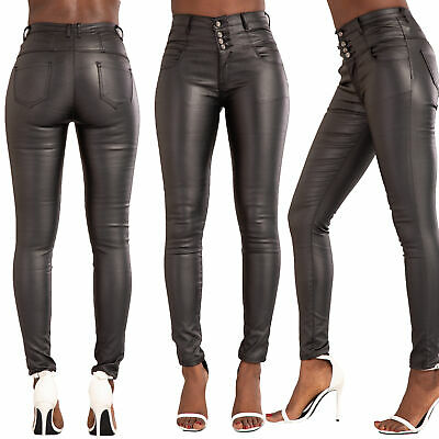 Womens High Waist Black Jeans Ladies Leather Skinny Fit Trousers Size 6-14 • 13.99£