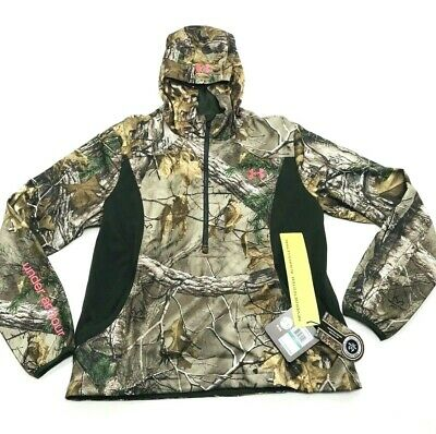 1fe6e573f61be Under Armour Camo Pullover Jacket RealTree Zip Hunting Women Size Large  $140 • 59.87$