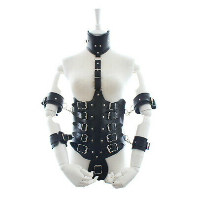 Real Leather Body Harness Restraint Cupless Corset Collar Cuffs Costume Jacket • 32.98£