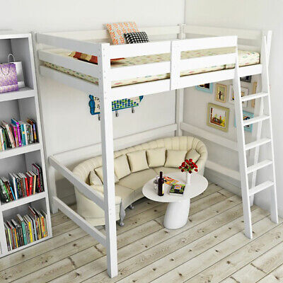 High Sleeper Bunk Cabin Bed 3ft Wooden Bedroom Furniture Kids Bedframe W/ Ladder • 185.95£