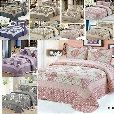 £26.90 • Buy 3 Pieces PatchWork Bedspread Fit Size Double&King Quilted Bed Spread New Range