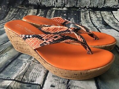 9756cd535a47 Mila Paoli Made In Italy Snakeskin Wedge Sandals Ornage Size 8.5 • 27.00