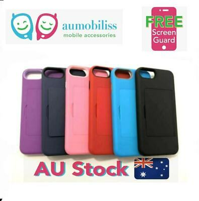 AU12.95 • Buy Soft Feeling Hard Shockproof Heavy Duty Case With Card Holder For IPhone 7+/8+