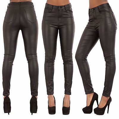 Womens High Waist Plus Size Leather Look Jeans Skinny Fit Trousers SIZE 10-20 • 20£