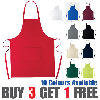 £6.99 • Buy 100% Cotton Apron Chef Catering Adjustable Apron With Front Pocket Waiter Bistro