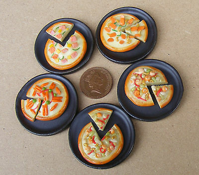 1:12 Scale Single Sliced Pizza On A Stone Plate Tumdee Dolls House Takeaway Food • 2.80£