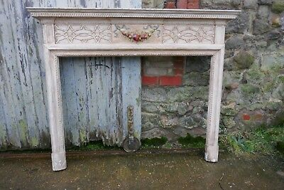 A Large Victorian Adams Style Painted Pine Fireplace. • 825£