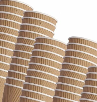 £9.99 • Buy Disposable Ripple Triple Walled Paper Coffee Cup Brown Cups With/without Lids