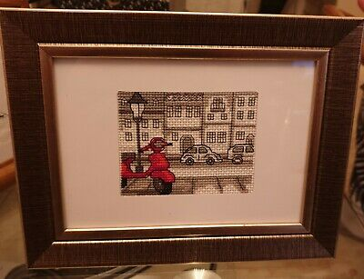 Red Motorcycle  Framed Finished Cross Stitch Handmade Decoration Gift • 62£