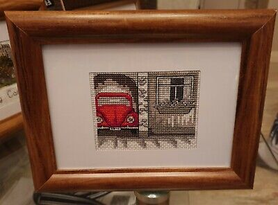 Red Car  Framed Finished Cross Stitch Handmade Decoration Gift • 56£