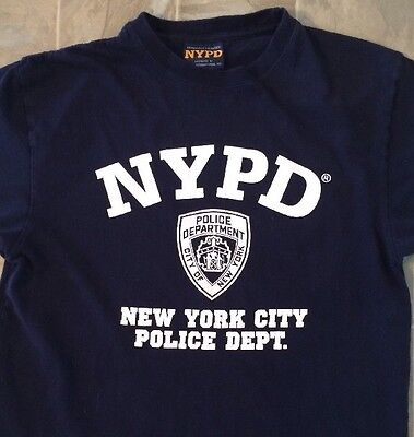 a31b1685a NYPD New York City Police Dept. T-Shirt Large L Blue Navy Badge Mens