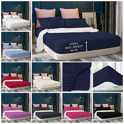 Extra Deep 40cm Fitted Sheet Bed Sheets For Mattress Single Double King Size • 10.25£