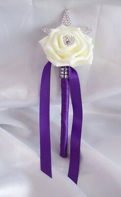 £5 • Buy Wedding Flowers Cadbury Purple & Ivory Rose Small 8  Flower Girl Wand. Posy