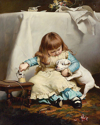 £14.95 • Buy Charles Burton Barber The Poorly Pup    Wall Art  Canvas