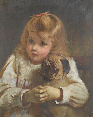 £14.95 • Buy Charles Burton  Barber  Concerned Girl With A Pug  - 24'  CANVAS