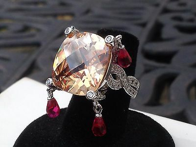 $165 • Buy Charles Winston Sterling Silver HUGE Dangle Cubic Zirconia Ring   Size 6