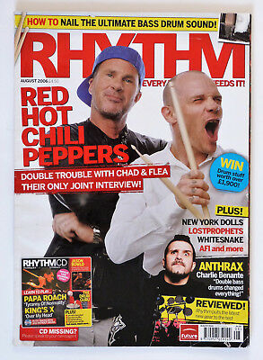 Rhythm Magazine: August 2006, Red Hot Chilli Peppers, Charlie Benante..Etc. • 4.99£