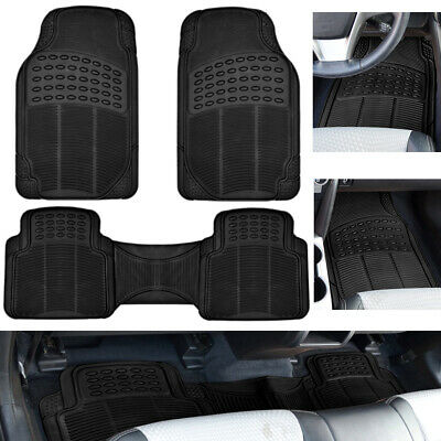 Car Floor Mats For Auto All Weather Rubber Liners Heavy Duty Fit Black 3pc Pack • 17.90$