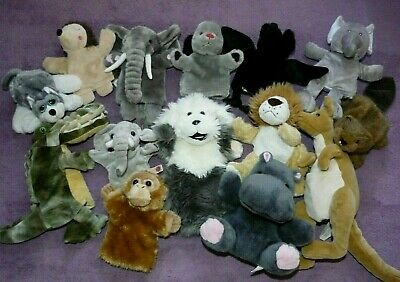 £9.99 • Buy Soft Toy Hand Glove Puppets Beaver Sheepdog Elephant Sweep With Noise Hedgehog