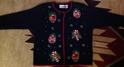 $9.99 • Buy UGLY Christmas Cardigan Sweater Paul Harris Designs Ornaments Candy Canes M