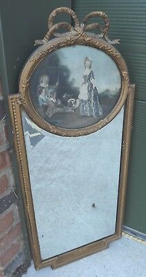 £275 • Buy Antique Gilt-Framed Pier Mirror Overmantle Wall Mirror With Print Above