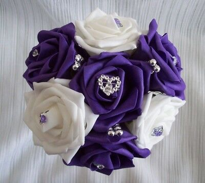 £9 • Buy Wedding Flowers Cadbury Purple & White Rose Bridesmaid Wedding Bouquet Posy