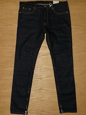 $ CDN53.63 • Buy NWT Mens MNML Ankle Zips Tapered Button-fly Slim Dark Blue Jeans 38 X 34