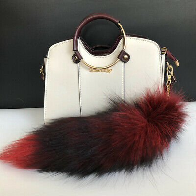 $8.89 • Buy Red-Large Real Fox Fur Tail Keychain Bag Charm Keyring Cosplay Toy Bag Accessory