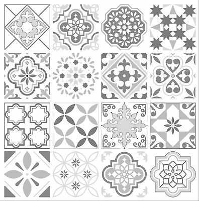 Grey Mosaic Pattern Tile Stickers For 100mm X 100mm / 4 X 4 Inch Waterproof G03 • 8.99£
