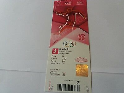 £14.99 • Buy London 2012 Olympic Games HANDBALL Ticket 11th August GOLD MEDAL MATCH !