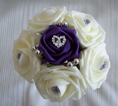 £9 • Buy Wedding Flowers Cadbury Purple & Ivory Rose Bridesmaid Wedding Bouquet Posy