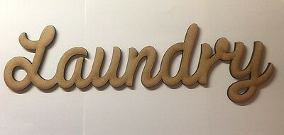 Wooden Laundry Word Sign Laser Cut 6mm Thick Mdf Blank • 7.90£