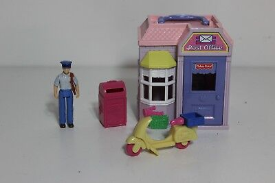 $19.95 • Buy Fisher Price Sweet Streets Post Office With Mail Box Scooter Mail Man Figure Lot