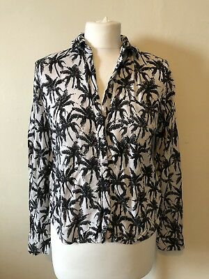 New Look Palm Print Monochrome Shirt Size 8 Tropical 🌴 Relaxed Autumn • 10£