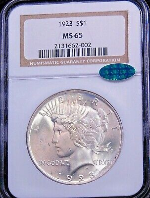 1923 Peace Dollar NGC MS65 With CAC Golden White With Satiny Luster, PQ #203T • 114.97£