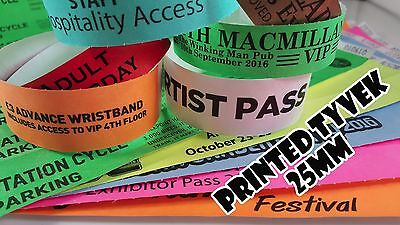 £8.50 • Buy Printed Tyvek Wristbands 100 To 500 (25mm) Party, Events, Security Bands