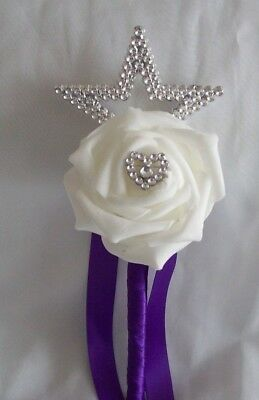 £5 • Buy Wedding Flowers Cadbury Purple & White Rose Small 8  Flower Girl Wand Posy