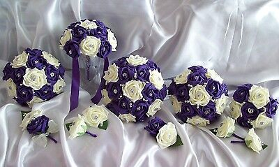 £103.50 • Buy Wedding Flowers Cadbury Purple & Ivory Bouquet Posy Corsage Buttonholes Package