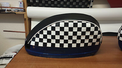 Vespa PX/T5/LML Pair Of Side Panel Covers Chequered Design Black & White • 45£
