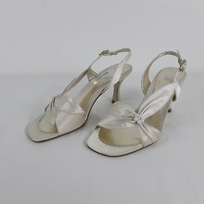 K By Clark's Ladies Women's Ivory Slingback Sandals Shoes Uk 5 Wedding Vintage • 24.99£