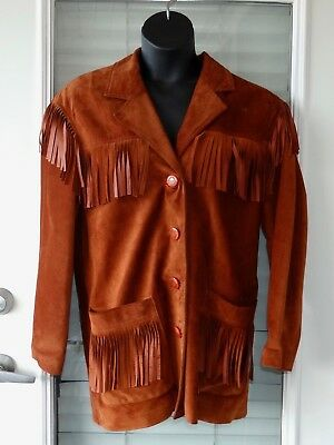$ CDN101.43 • Buy Vtg Womens Danier Leather Jacket Brown Western Fringe Suede Small Medium