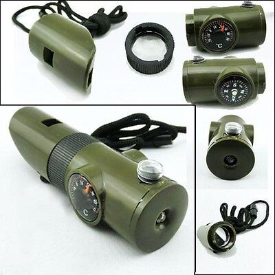 £4.97 • Buy Emergency Whistle 7 In 1 Hiking Scouting Survival Compass Light Mag Mirror Etc