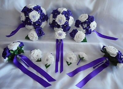 £77 • Buy Wedding Flowers Cadbury Purple & White Butterfly Rose Bouquet Posy PACKAGE.