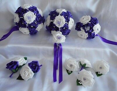 £59.50 • Buy Wedding Flowers Cadbury Purple & White Butterfly Bouquet Posy Wand PACKAGE