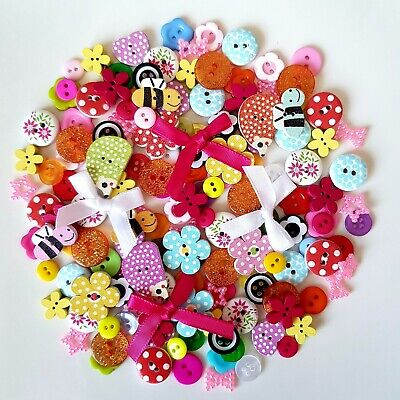 100 Best Buttons Embellishments Wood Resin Acrylic Craft Scrap Booking Sewing  • 3.59£