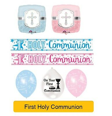 HOLY 1ST/FIRST COMMUNION Party Banners Foil & Latex Balloons Decorations Napkins • 2.99£