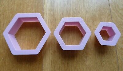 3 Pcs Hexagon Cookie Cutter Shapes Biscuit Pastry Cake Bakery Mould Pink • 3.95£